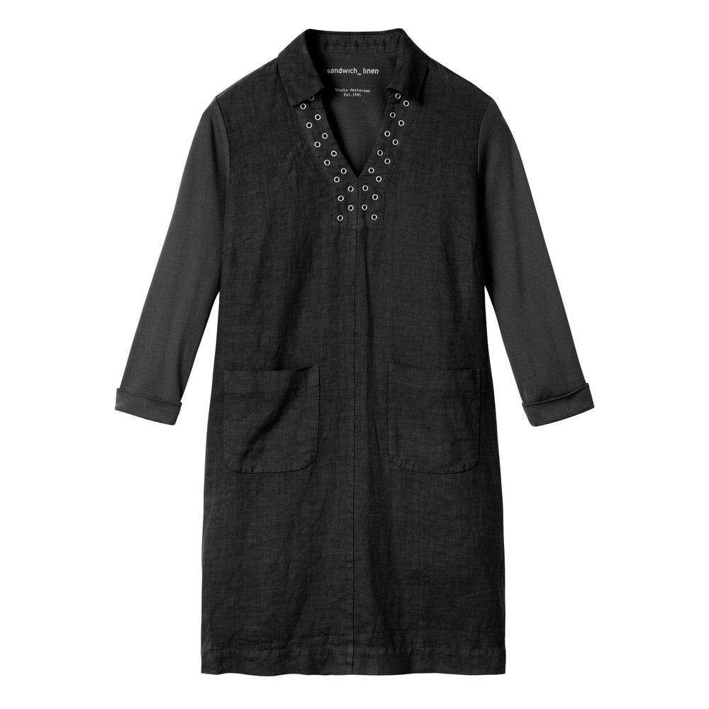 Sandwich Outlet Linen eyelet detail shirt dress Almost Black