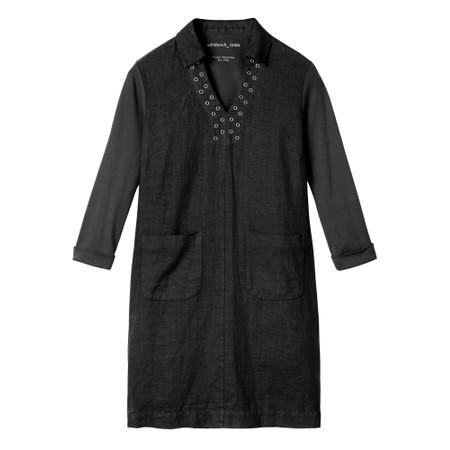 Sandwich Outlet  Linen eyelet detail shirt dress - Black