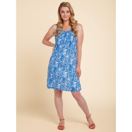 Adini Brush Stroke Print Marnie Dress - Blue