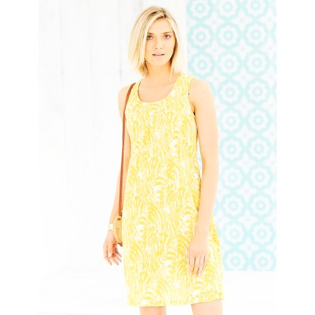 Adini Brush Stroke Print Marnie Dress - Yellow