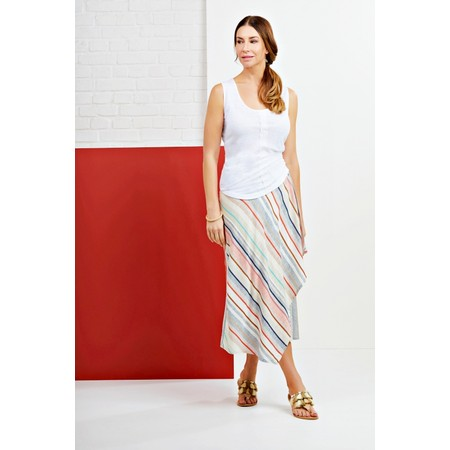 Foil Tipping The Scale Linen Skirt - Blue