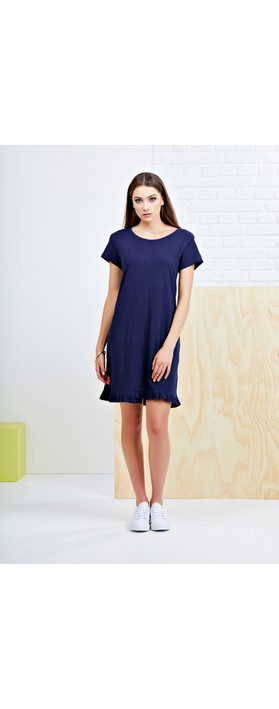 Foil The Frill Of It All Tee Dress Navy
