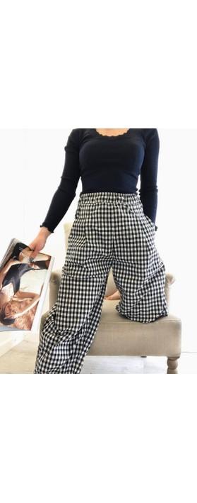 Mama B Bianco  Checked Print Trousers Nero