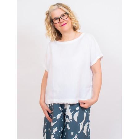 Mes Soeurs et Moi Artisan Arachon Linen Cap Sleeve Top  - White