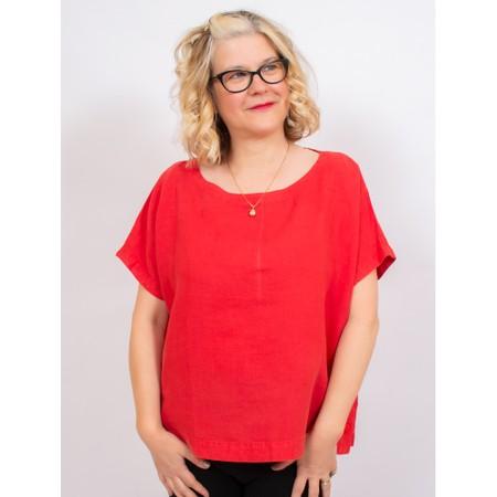Mes Soeurs et Moi Artisan Arachon Linen Cap Sleeve Top  - Red
