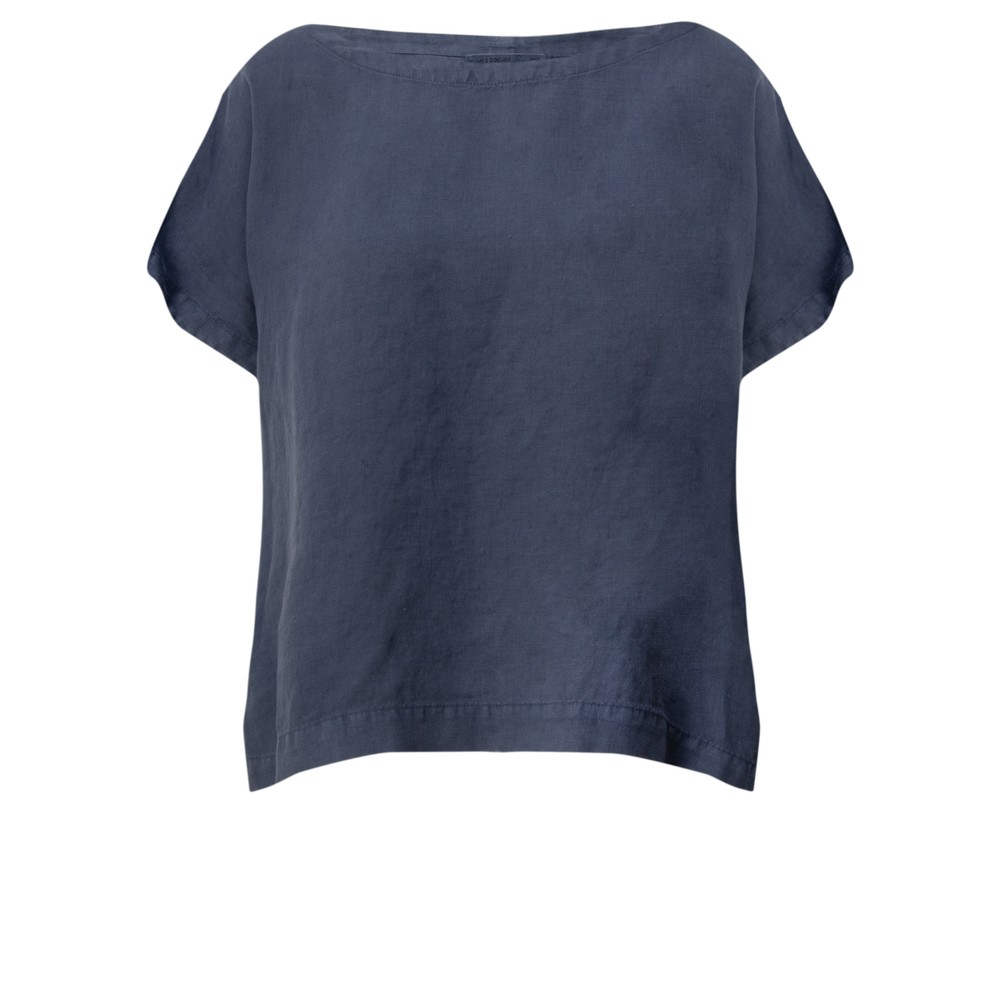 Mes Soeurs et Moi Artisan Arachon Linen Cap Sleeve Top  Encre Blue
