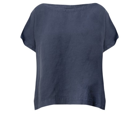 Mes Soeurs et Moi Artisan Arachon Linen Cap Sleeve Top  - Blue