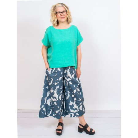 Mes Soeurs et Moi Artisan Arachon Linen Cap Sleeve Top  - Green