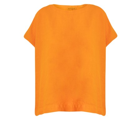Mes Soeurs et Moi Artisan Arachon Linen Cap Sleeve Top  - Orange