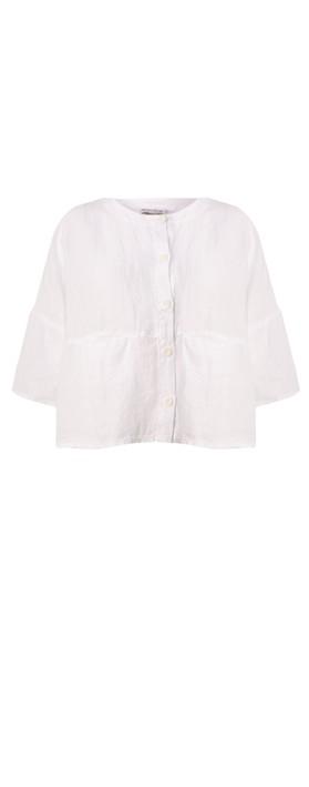 Mes Soeurs et Moi Aruba Arachon Linen Button Front Top Blanc White