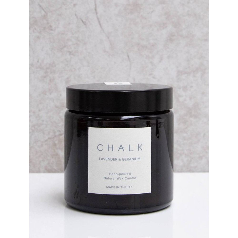 Chalk Home Lavender and Geranium Amber Apothecary Small Candle Jar Lavender and Geranium
