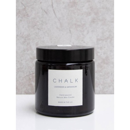 Chalk Home Lavender and Geranium Amber Apothecary Small Candle Jar - Purple