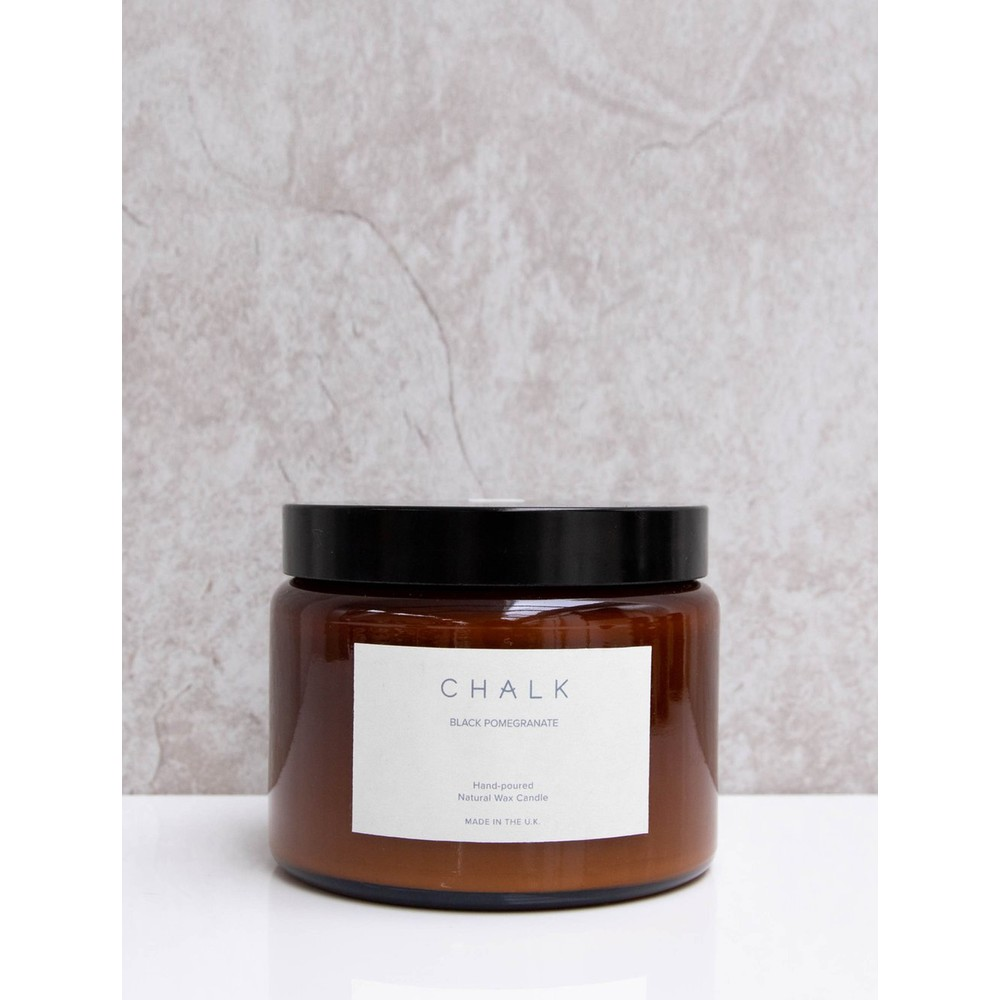 Chalk Home Black Pomegranite Amber Apothocary Large Candle Jar 500ml Black Pomegranate