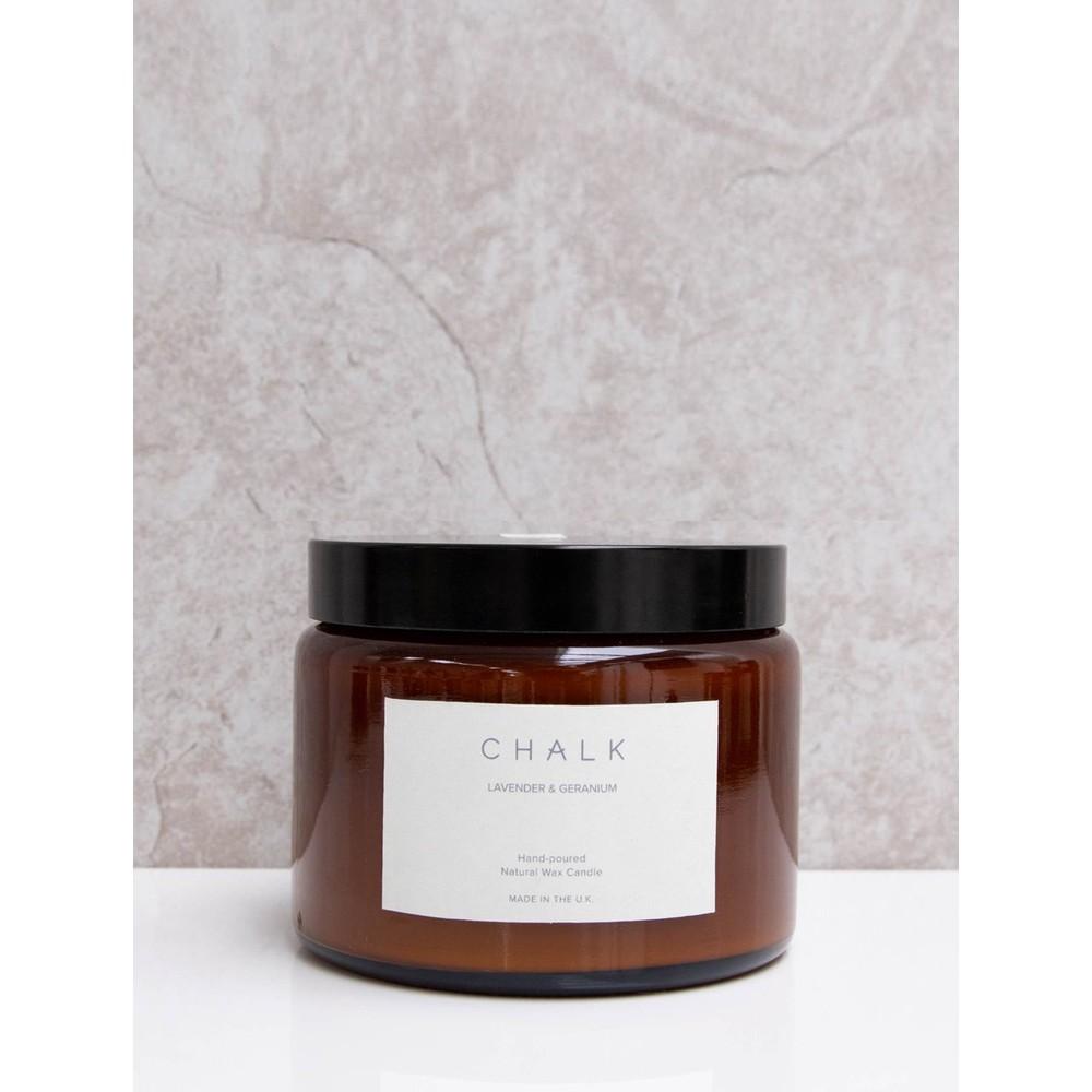 Chalk Home Lavender and Geranium Amber Apothocary Large Candle Jar 500ml Lavender and Geranium