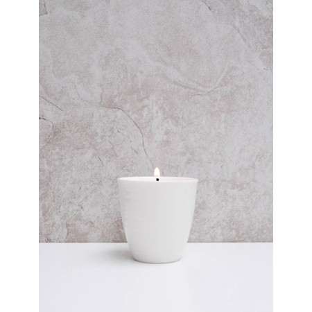 Chalk Home Almond Cream Candle in Porcelain Pot - White