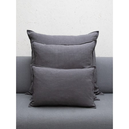 Chalk Home Ramie & Natural Fibre Oblong Cushion with Cushion Pad  - Black