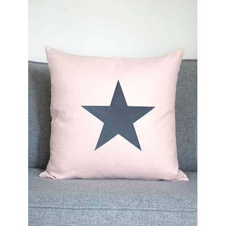 Chalk Home Linen Star Square Cushion with Cushion Pad - Pink