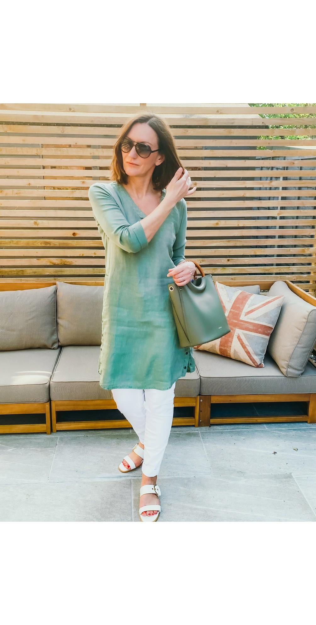 Three Quarter Sleeve Linen Blend Dress main image