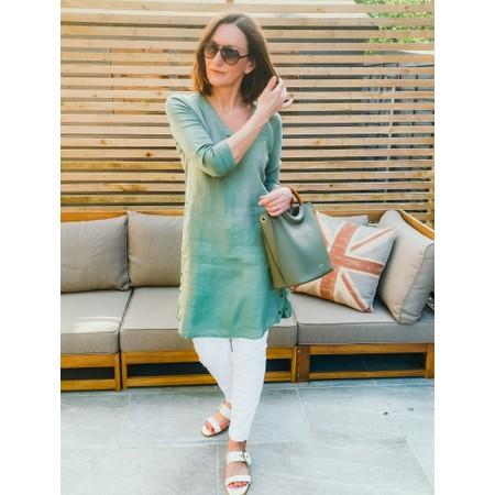 Sandwich Clothing Three Quarter Sleeve Linen Blend Dress - Green