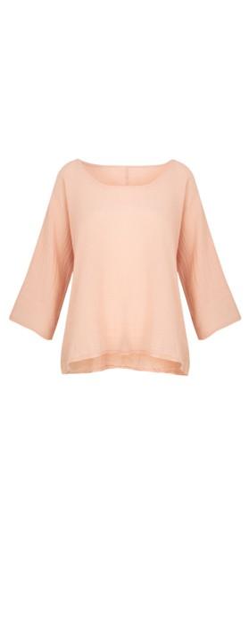 TOC Billie Linen Mix Easy Fit Top Dusty Pink