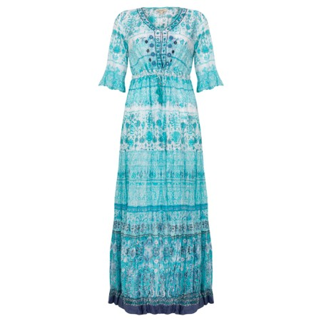 Orientique Skopelos Maxi Crinkle Dress  - Blue