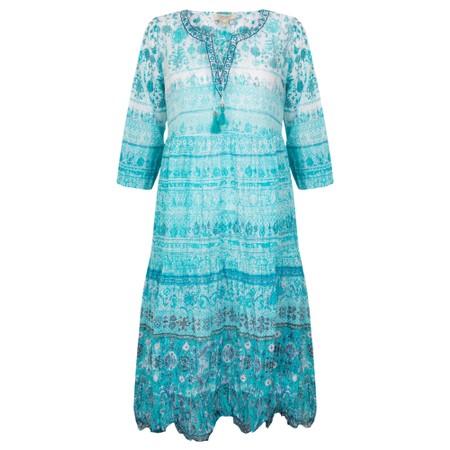 Orientique Skopelos 3qtr Sleeve Crinkle Cotton Dress  - Blue