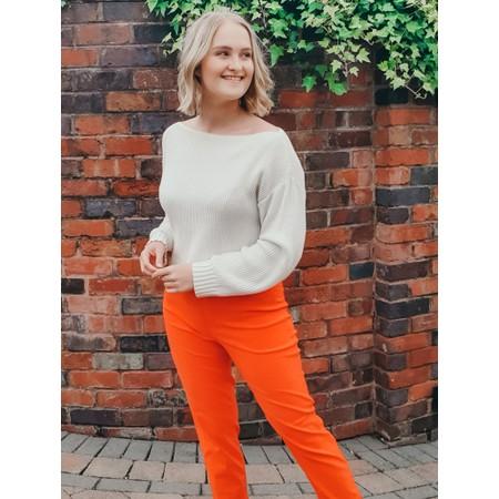 Robell Bella 09 Orange Ankle Length Crop Cuff Trouser - Orange