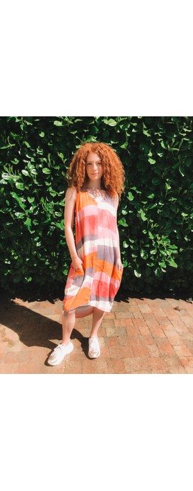 Foil Switching Sides Dress Sandbar Melons