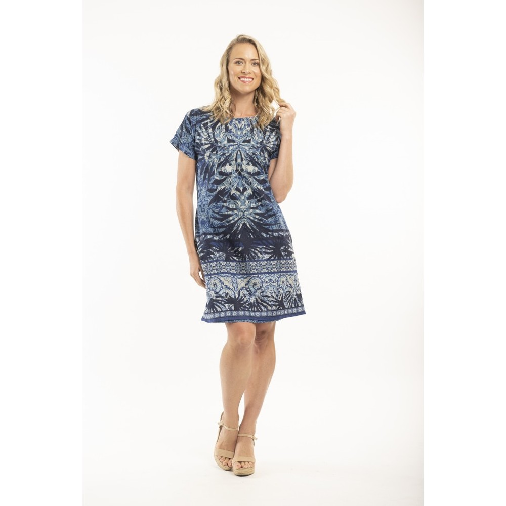 Orientique Andros Reversible Dress Blue Multi Print