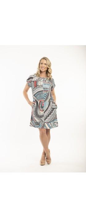 Orientique Faraga Dress with Pockets Grey Blue Multi Print