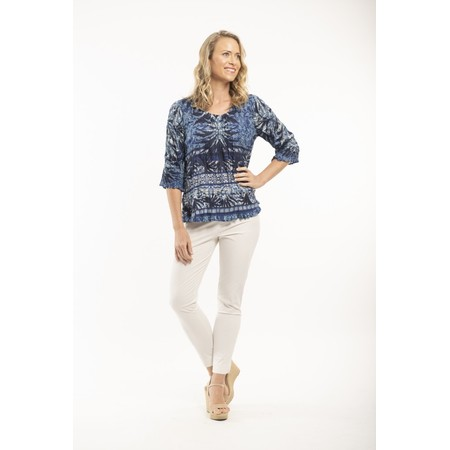 Orientique Andros 3Qs Crinkle Top  - Blue