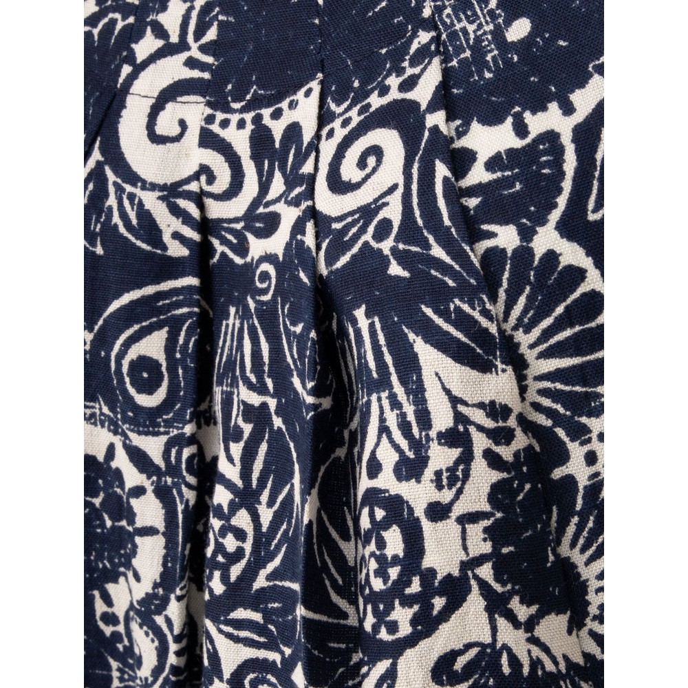 Orientique Samothrace Pleat Pocket Dress Navy White Print