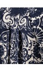 Orientique Navy White Print  Samothrace Pleat Pocket Dress
