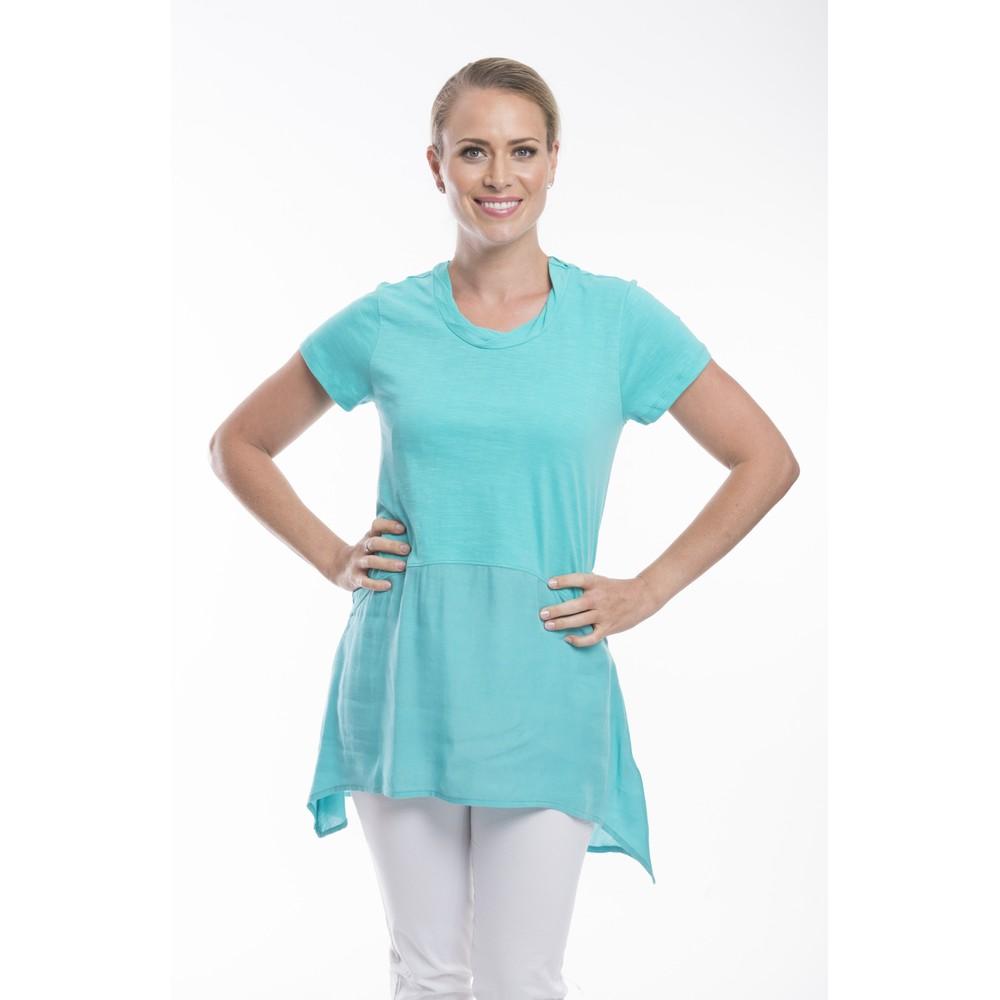 Orientique Essential Short Sleeve Tunic Top  Aqua Jade