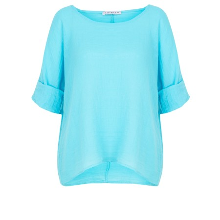TOC Billie Linen Mix Easy Fit Top - Turquoise
