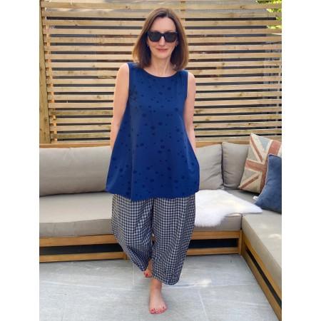 Mama B Bianco  Checked Print Trousers - Blue