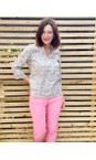 Sandwich Clothing Anthracite Linen Palm Print Top