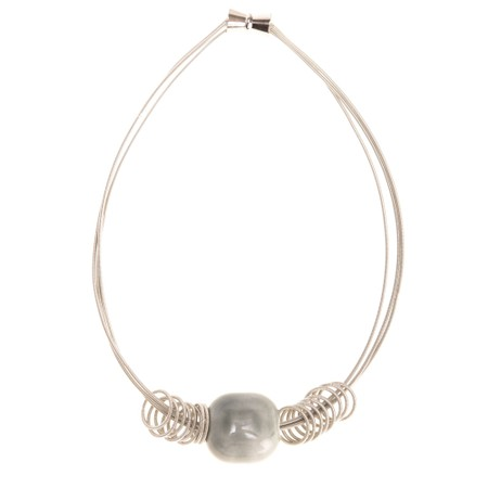 Etnika Pebble Short Necklace - Grey