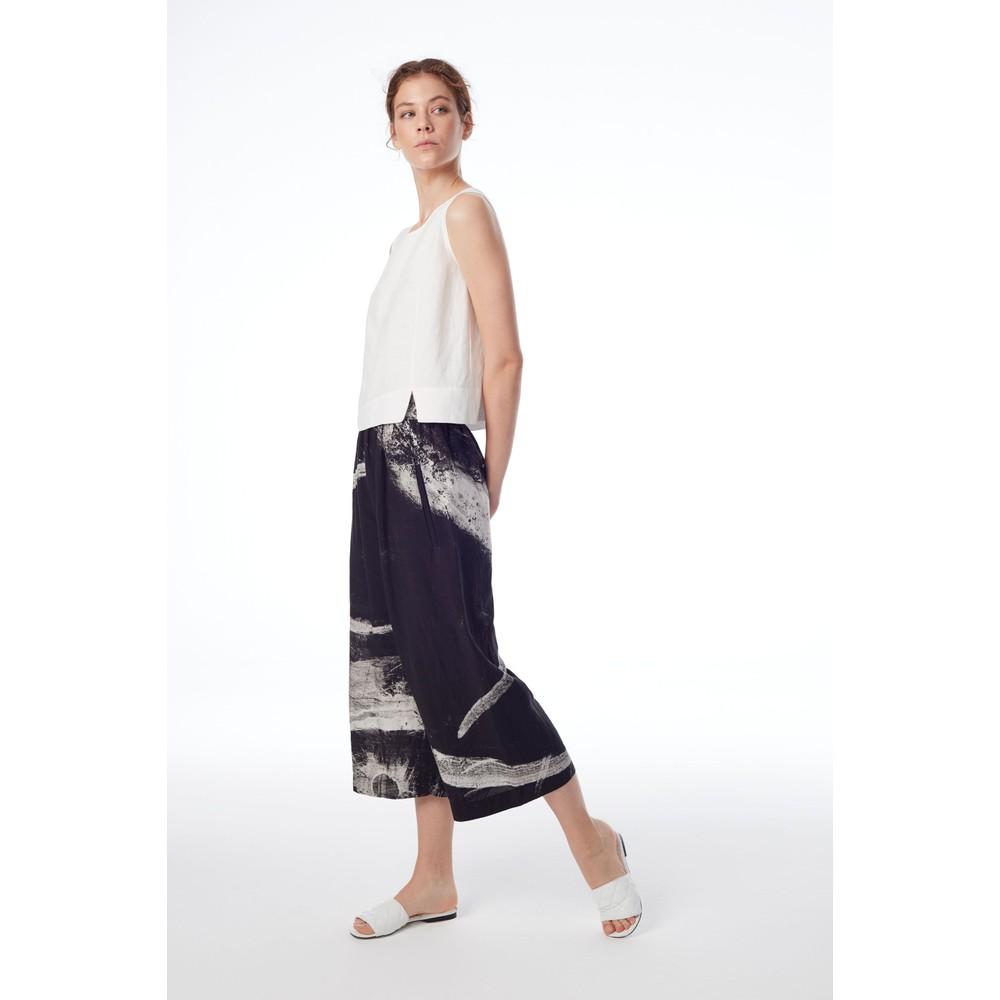 Crea Concept Linen Blend Shell Top Off White