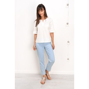 Robell  Bella 09 Light Blue Ankle Length 7/8 Cuff Trouser - Blue