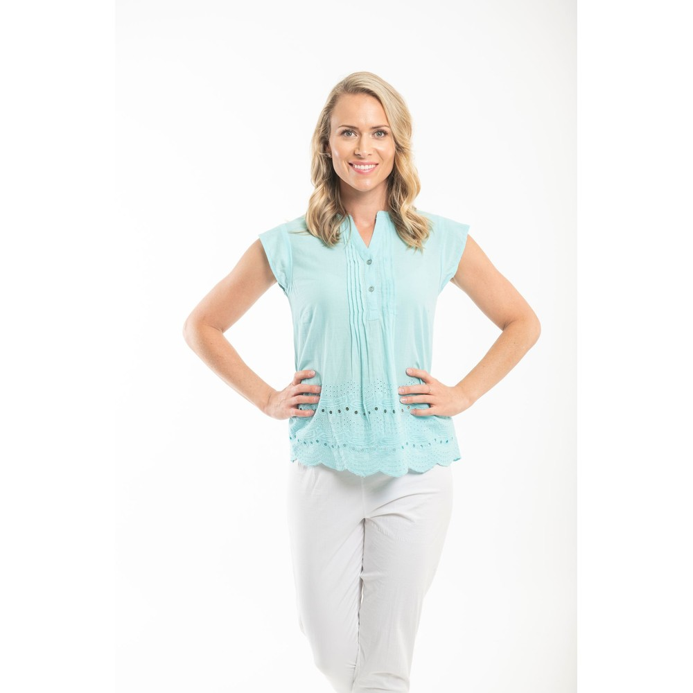 Orientique Broderie Top Turquoise