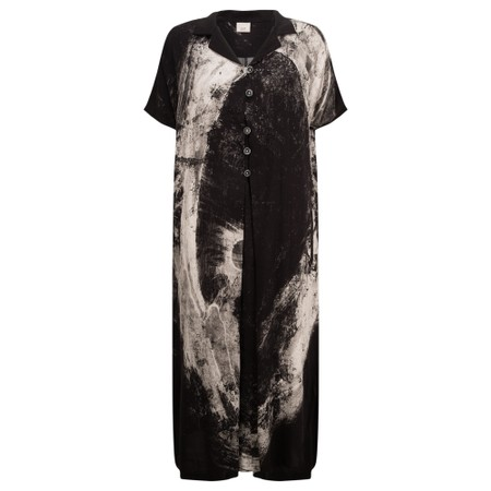 Crea Concept Abstract Print Button Dress - Black