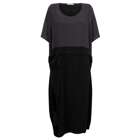 Crea Concept Draped Linen Dress - Black