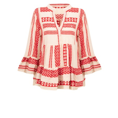 TOC  Milla Greek Style Smock Top - Red