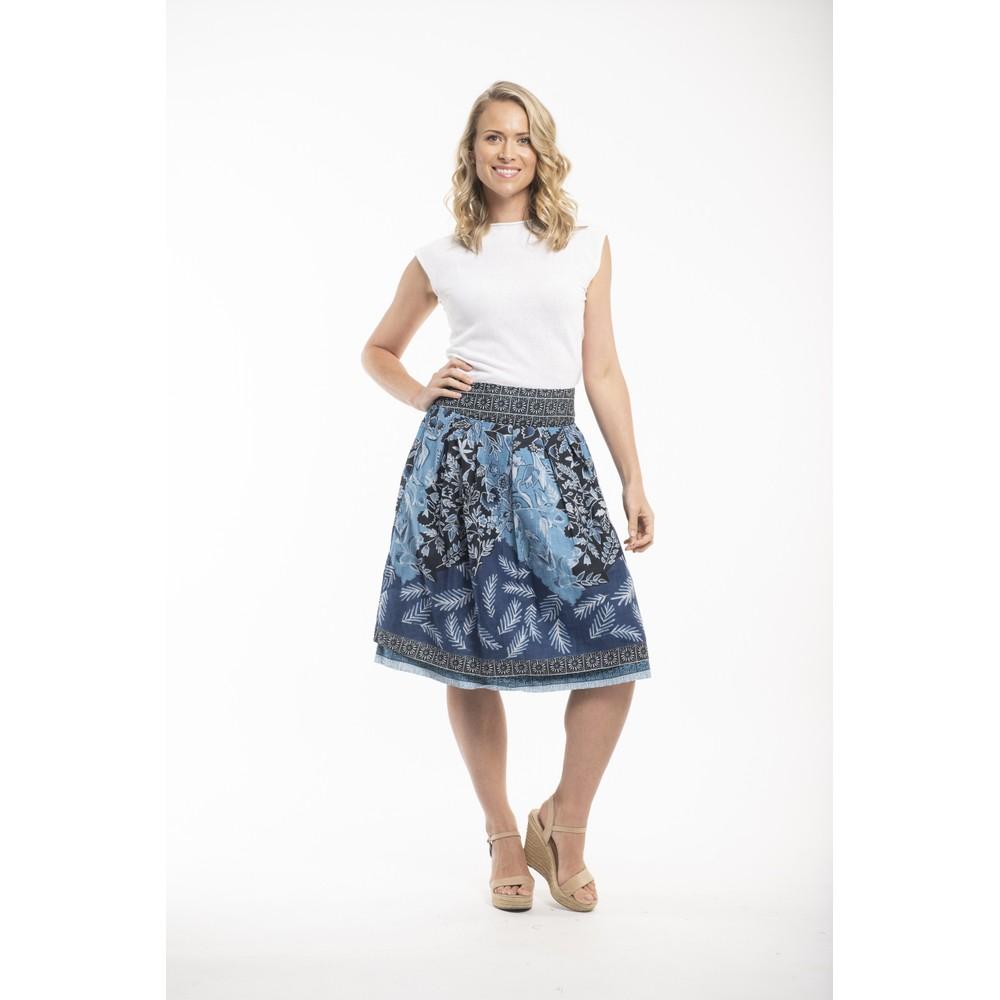 Orientique Crete Reversible Skirt Blue Multi Print