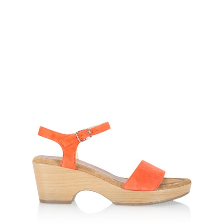 Gemini Label  Aneka Icon Suede Wedge Sandal - Orange