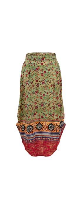 Orientique Kea Skirt Green Multi Print