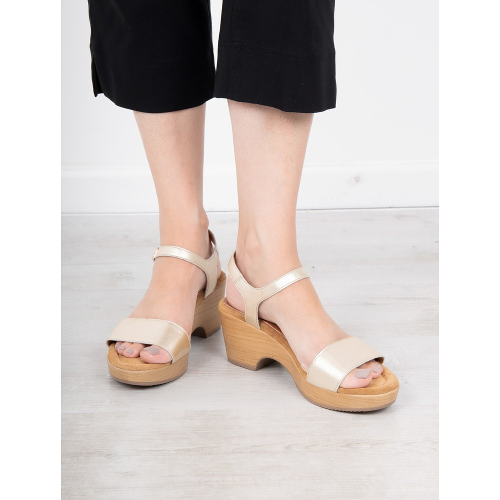 Gemini Label Shoes Aneka Icon Platine Metallic Leather Wedge Sandal Platine Metallic