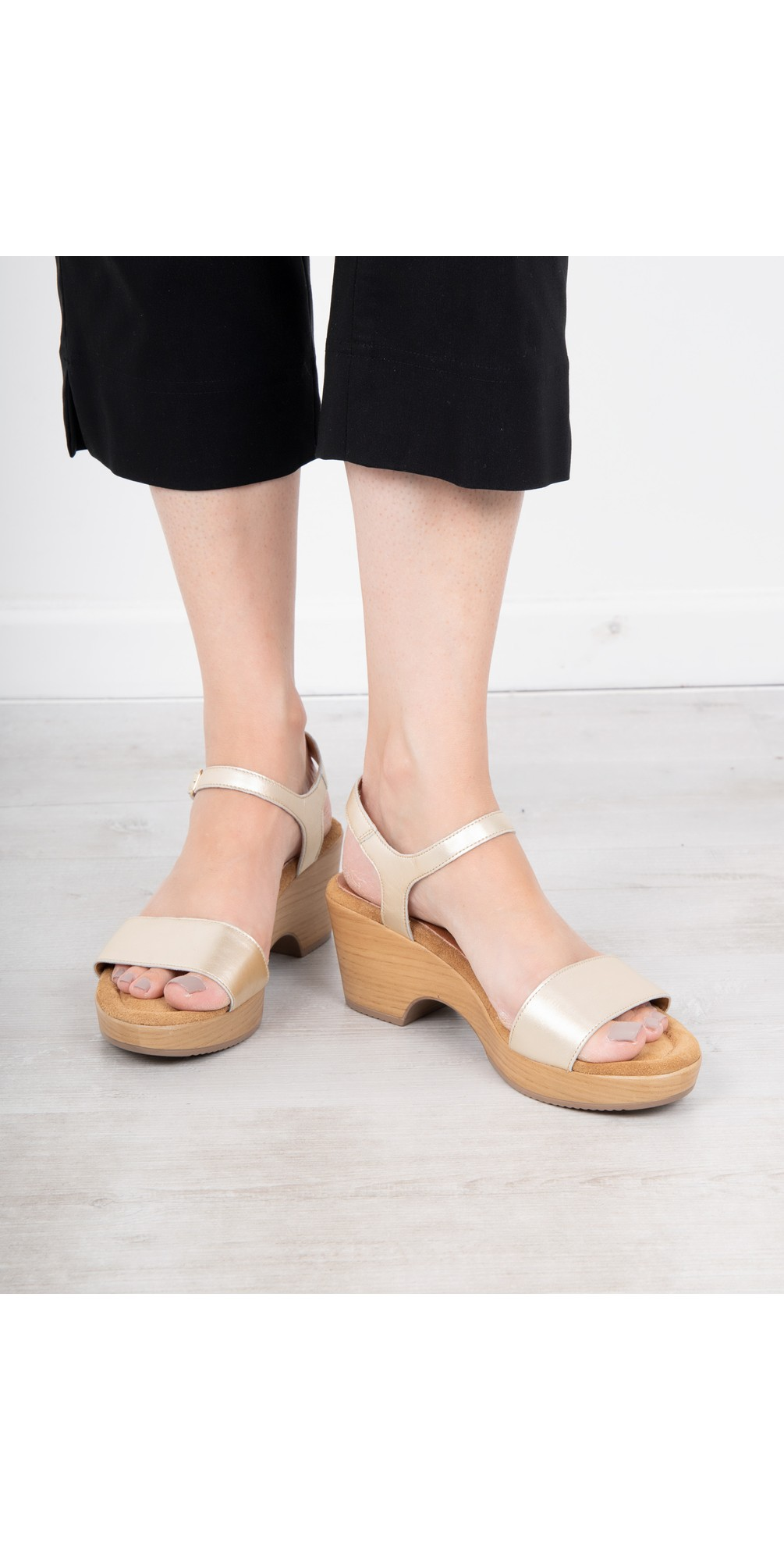 Aneka Icon Platine Metallic Leather Wedge Sandal main image
