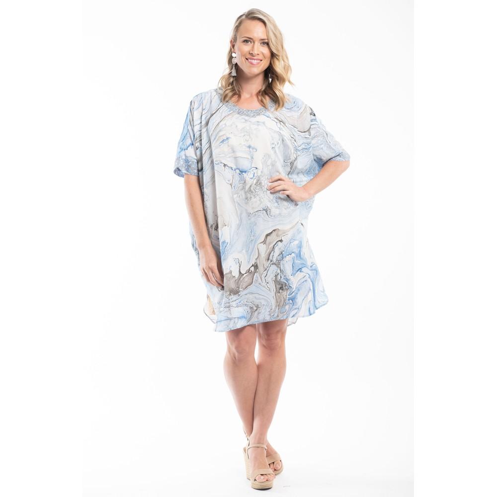 Orientique Lefkada Shift Dress Escape Collection Blue Multi Print